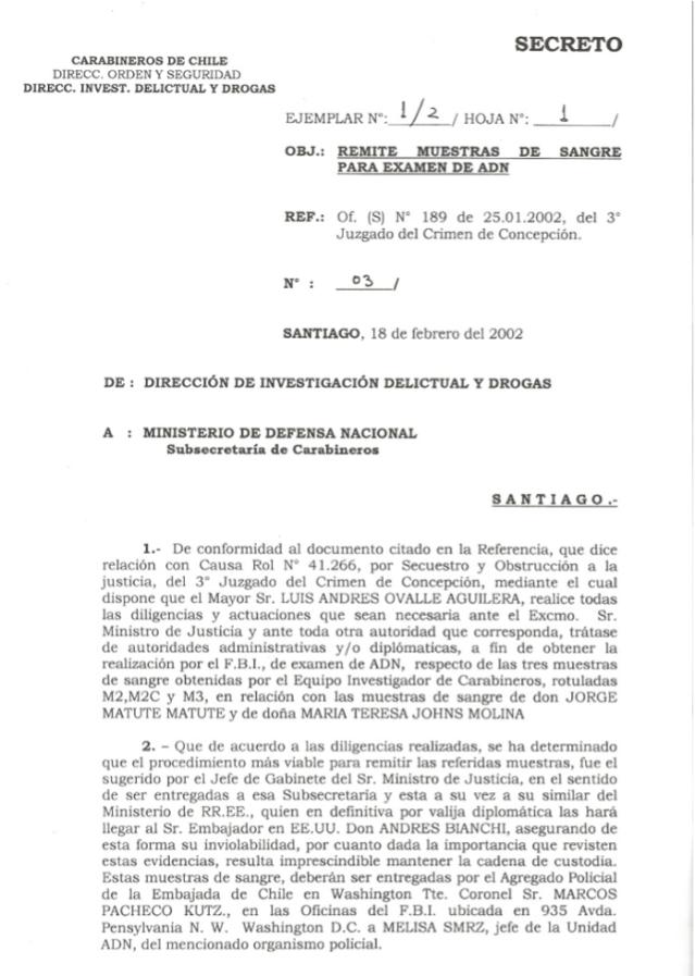 Rompimiento Cadena Custodia por orden del gobierno Chileno