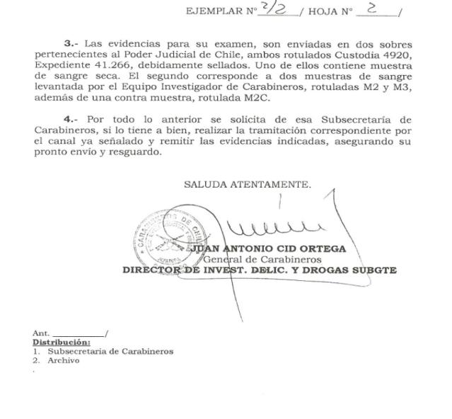 Rompimiento Cadena Custodia por orden del Estado Chileno