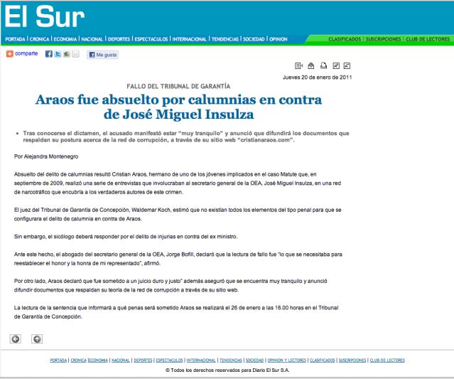 Absuelto de Calumnia en Juicio contra Jose Miguel Insulza