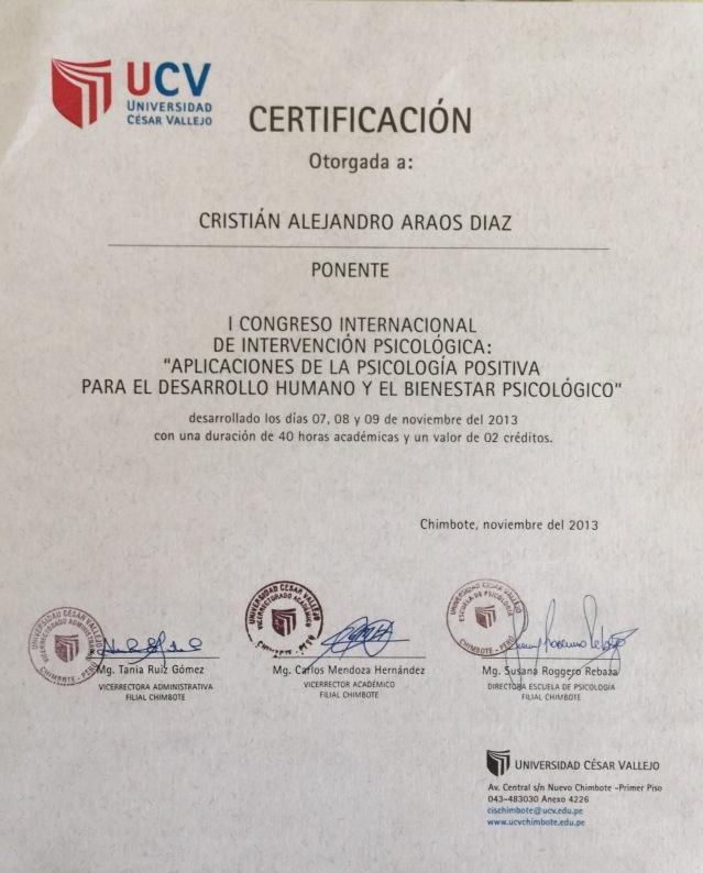 Universidad Cesar Vallejo, Cristián Araos Diaz.
